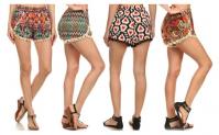 Women's Casual Pompom Tassel Lace Trim Mini Beach Shorts, 8.99, Groupon,