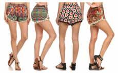 Women's Casual Pompom Tassel Lace Trim Mini Beach Shorts, 8.99, Groupon,